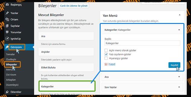 WordPress Sidebar Kategori Ekleme