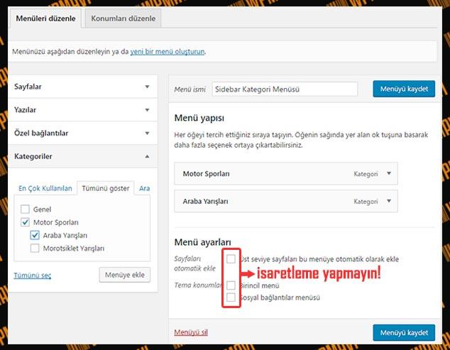 WordPress Yan Menüye Kategori Ekleme - 1