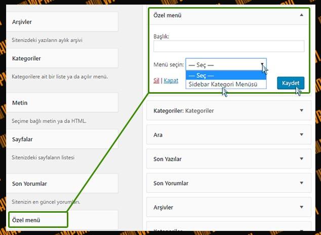 WordPress Yan Menüye Kategori Ekleme - 2