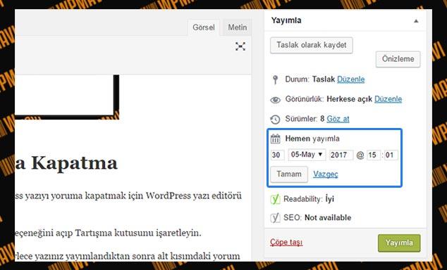 WordPress Yazı Zamanlama