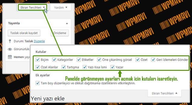 WordPress Yazı Ekleme - Ekran Tercihleri