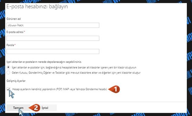 Şirket Mail Adresini Outlookta Açma - Manuel Yapılandırma