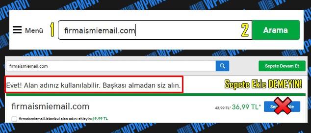 Şirket Maili Açma - Alan Adı Kontrolü