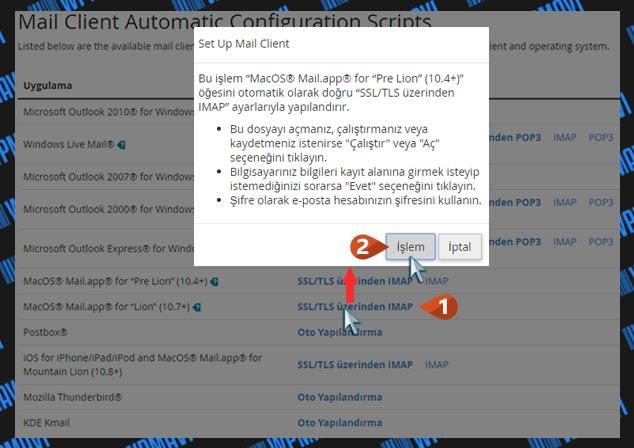 Şirket Maili Açma - Mail İstemcisi Yapılandırma Dosyası