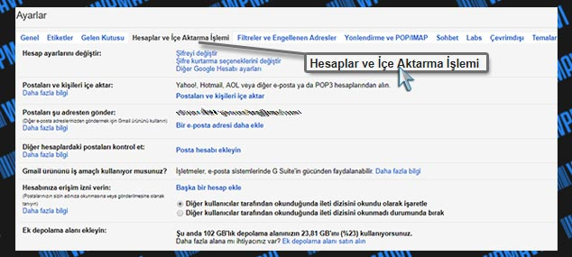 Şirket Mailini Gmailde Açma - Hesaplar ve İçe Aktarma