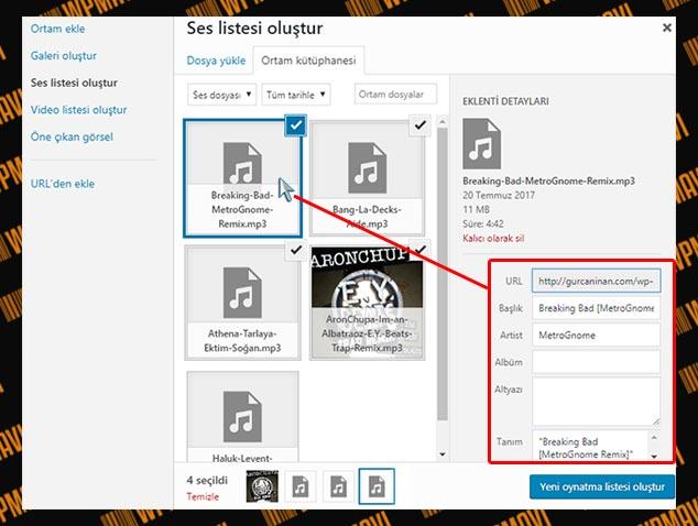 WordPress Müzik Listesi Ekleme - Tag Düzenleme
