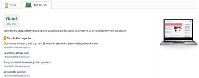 WP Fastest Cache Ücretsiz Sürüm - Google PageSpeed Masaüstü Testi