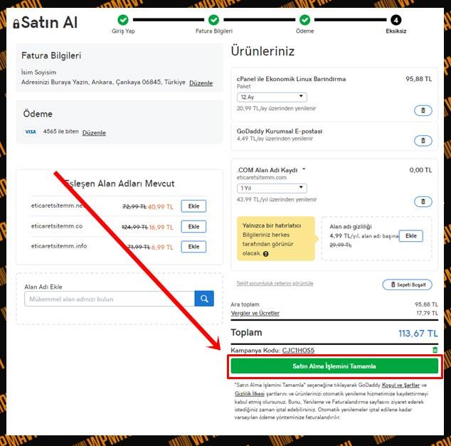 E-Ticaret Sitesi Kurmak - Ödeme Bilgileri Kontrolu