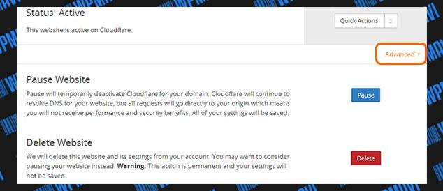 CloudFlare Ayarları - Status Advanced Seçenekleri