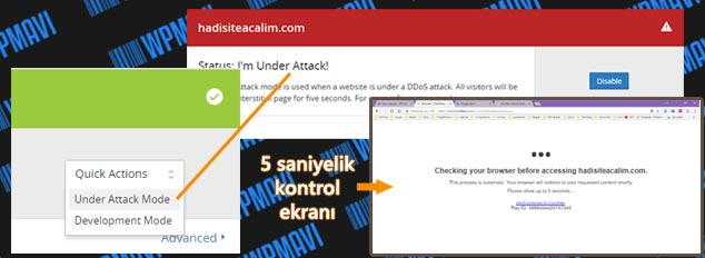 CloudFlare Ayarları - Under Attack Mode