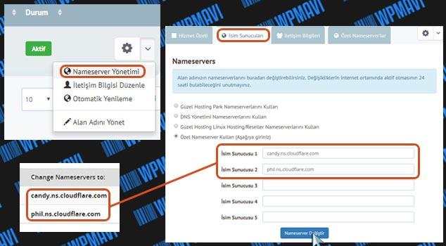 CloudFlare DNS Ayarları - İsim Sunucuları Değiştirme