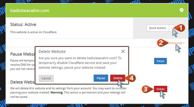 CloudFlare Kaldırma - Web Site Silme