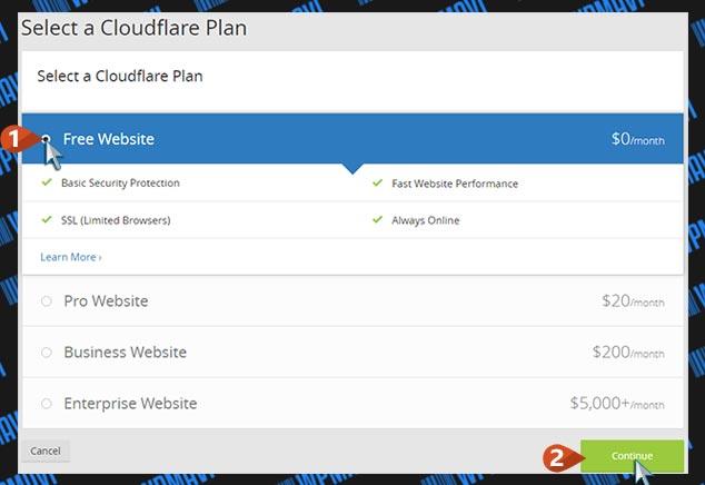 CloudFlare Kurulumu - Plan Seçimi
