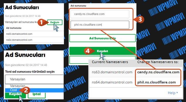 CloudFlare DNS Ayarları - GoDaddy DNS Değiştirme