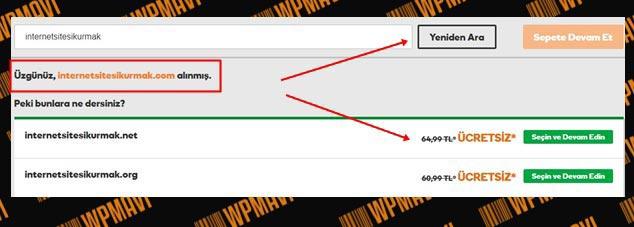 Domain Nasıl Alınır - Alan Adı Uygun Değil