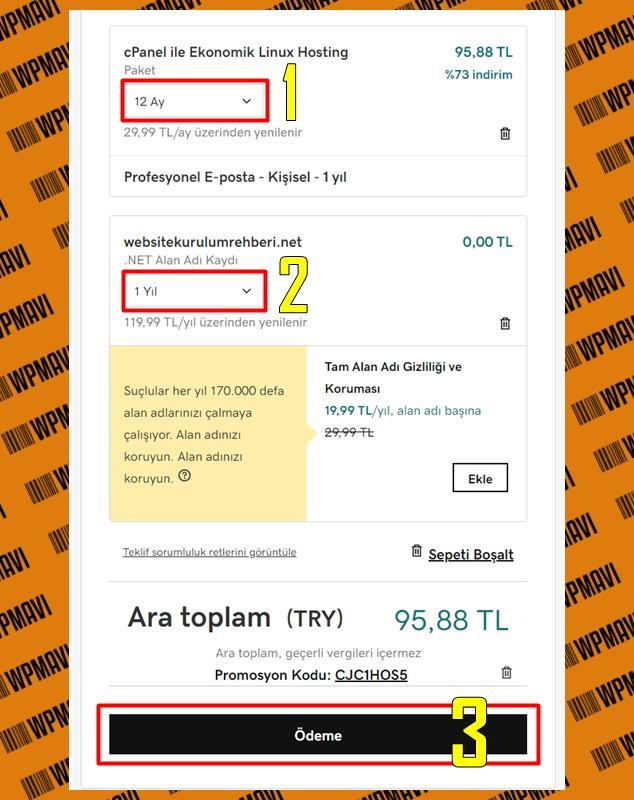 Hosting domain satın al - sepet ekranı