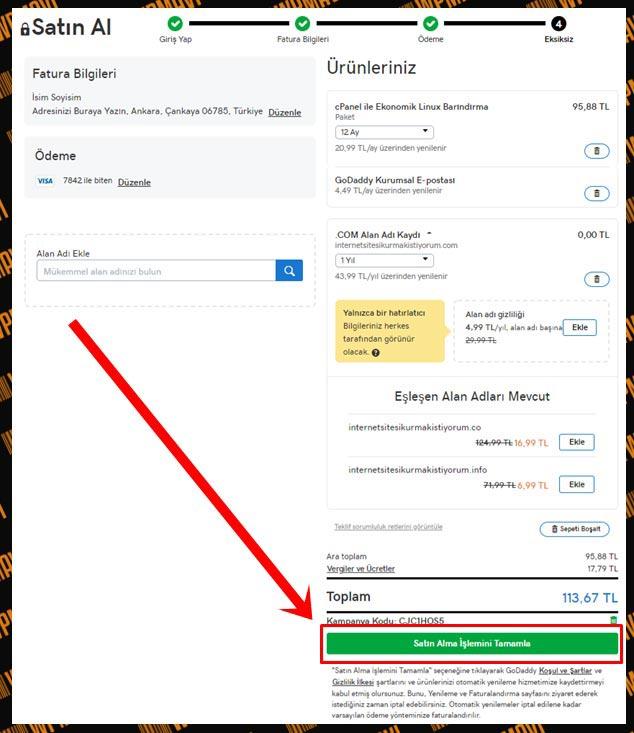 Hosting Domain Nasıl Alınır - Ödeme Bilgileri Kontrolü