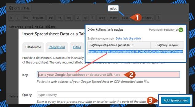 WordPress Excel Tablo Ekleme - Bağlantı Ekleme