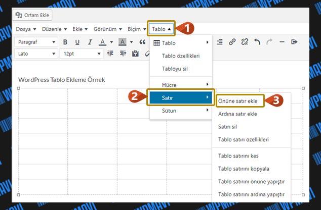 WordPress Tablo Ekleme - Satır ve Sütun Ekleme