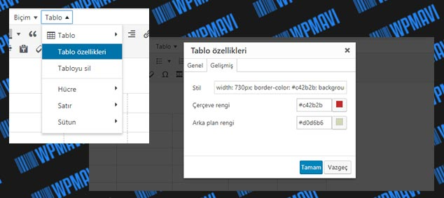 WordPress Tablo Ekleme - Tablo Özellikleri