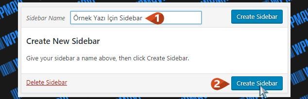 Farklı Sidebar Oluşturma - Yeni Sidebar