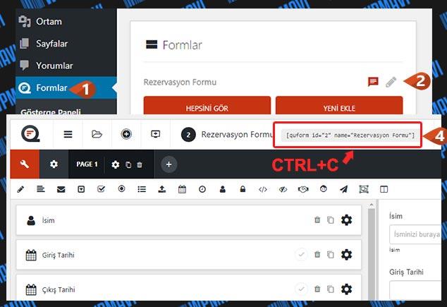 WordPress Form Hazırlama - Kısa Kod Alma