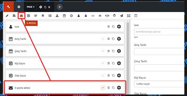 WordPress Rezervasyon Formu Oluşturma - E-Posta Alanı Ekleme