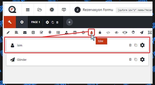 WordPress Rezervasyon Formu Oluşturma - İsim Alanı Ekleme
