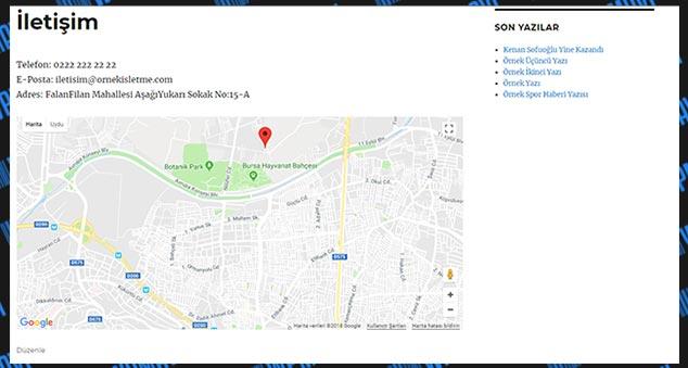 WordPress Google Maps Ekleme - Görünüm