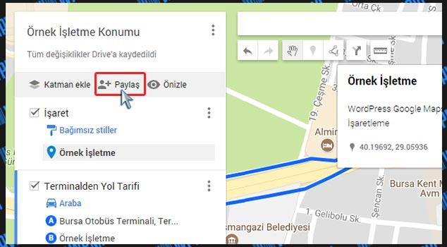 WordPress Harita Ekleme - Paylaş Butonu