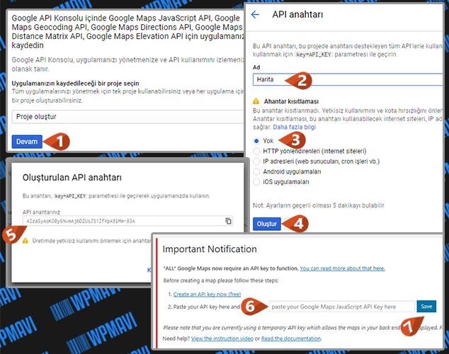 WordPress Harita Eklentisi - API Key Oluşturma