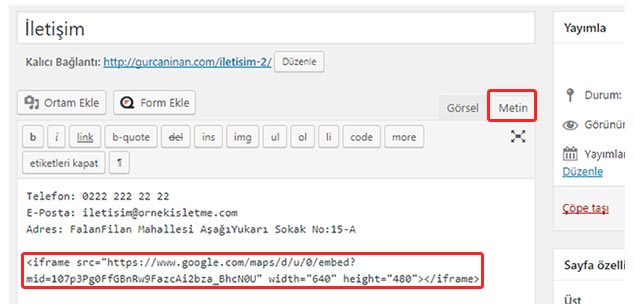 WordPress Konum Ekleme - Harita Kodu Ekleme