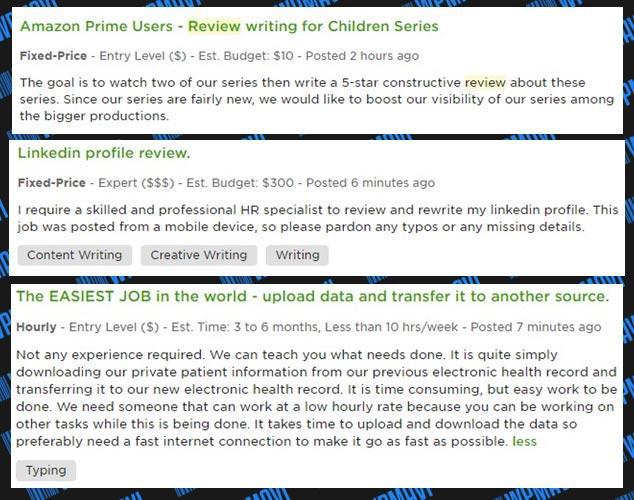İnternetten Para Kazandıran Siteler - Bilgisayardan Para Kazanma - Upwork diğer örnek ilanlar