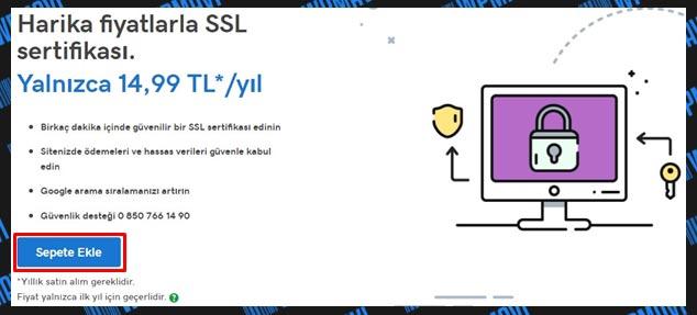 Godaddy SSL Kurulumu Sepete Ekle
