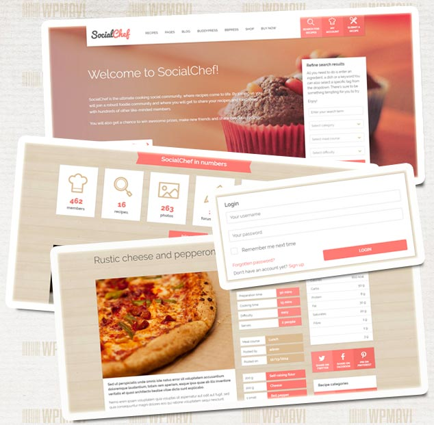 Hazır Sosyal Medya Tasarımları - Social Chef WordPress Teması