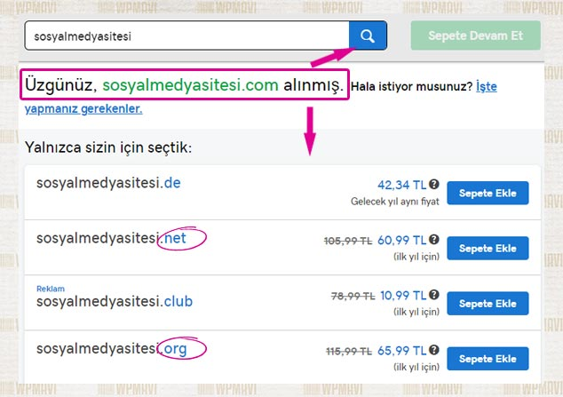 Sosyal Paylaşım Sitesi Kurmak - Uygun Olmayan Domain