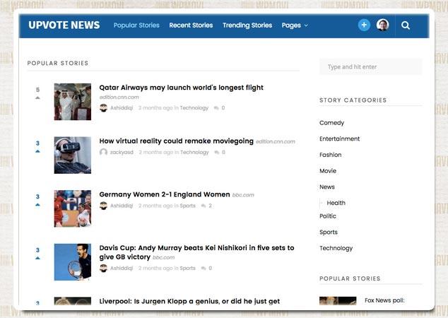 UpVote WordPress Sosyal Medya Sitesi Teması