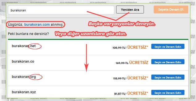 Kişisel Website Kurulumu - Uygun Olmayan Domain