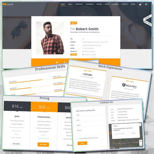 RScard WordPress Biyografi ve Satış Sitesi Teması
