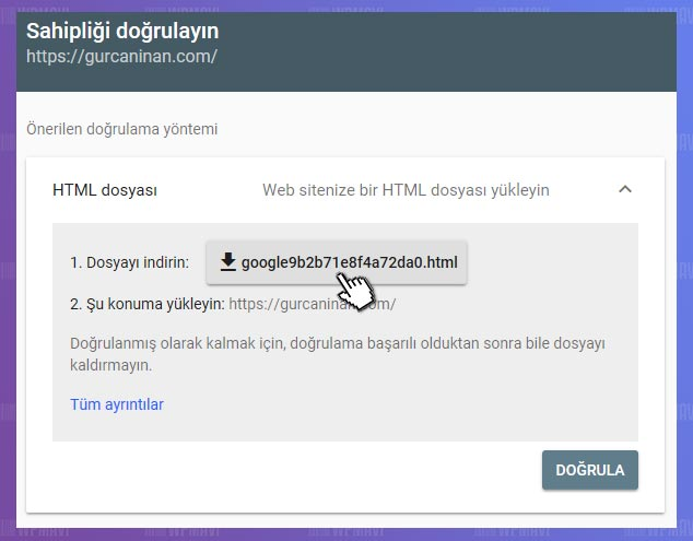 Google Site / Blog Kaydı - HTML Dosyası İndirme