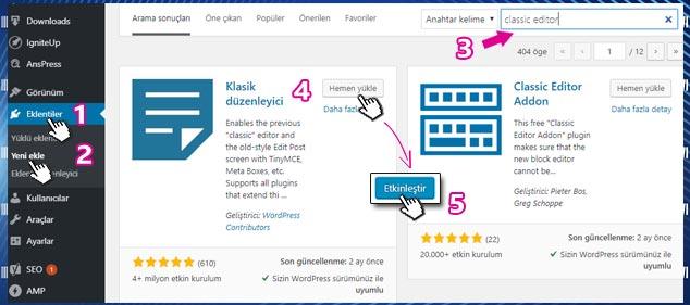 WordPress Klasik Editöre Dönme