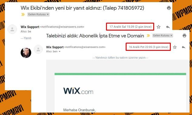 Hazır Web Sitesi Wix Destek Talebi Geri Dönüş Zamanı