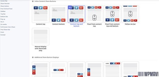 Sosyal Medya Paylaşım Eklentisi - Ekran Pozisyonları