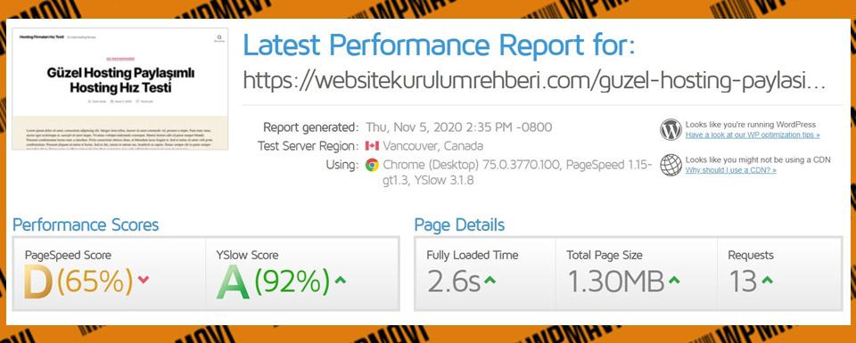 Türkiyenin en iyi hosting firmaları - Gtmetrix GüzelHosting Test 5