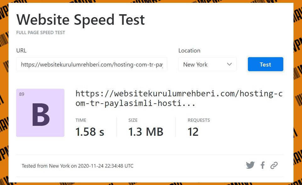 KeyCDN sonuçları test 4 hosting com tr - performanslı web hosting
