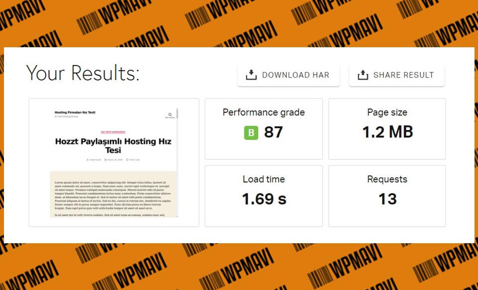 En iyi yerli hosting firması hangisi? - Pingdom Hozzt Test 1