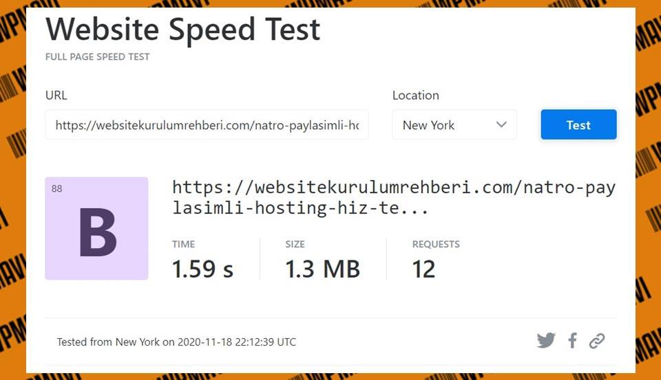 KeyCDN Tools Sonuçları Natro - kaliteli hosting hızlı hosting türkiye