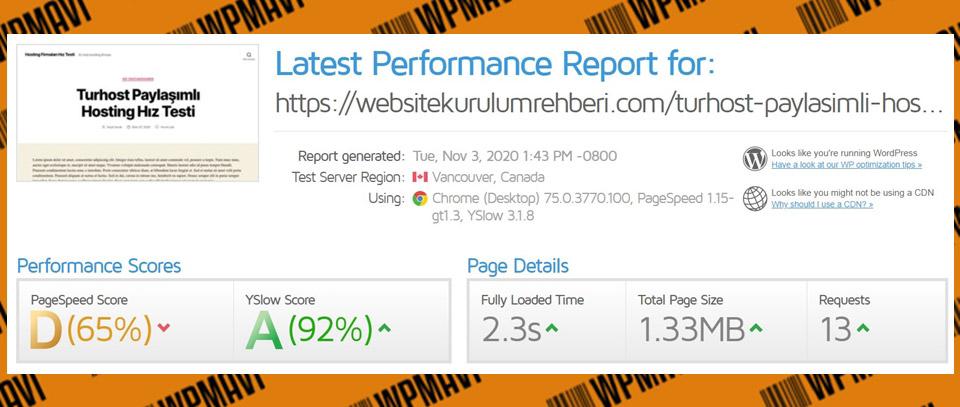 Gtmetrix Sonuçları Test 5 Turhost - türk hosting firmaları