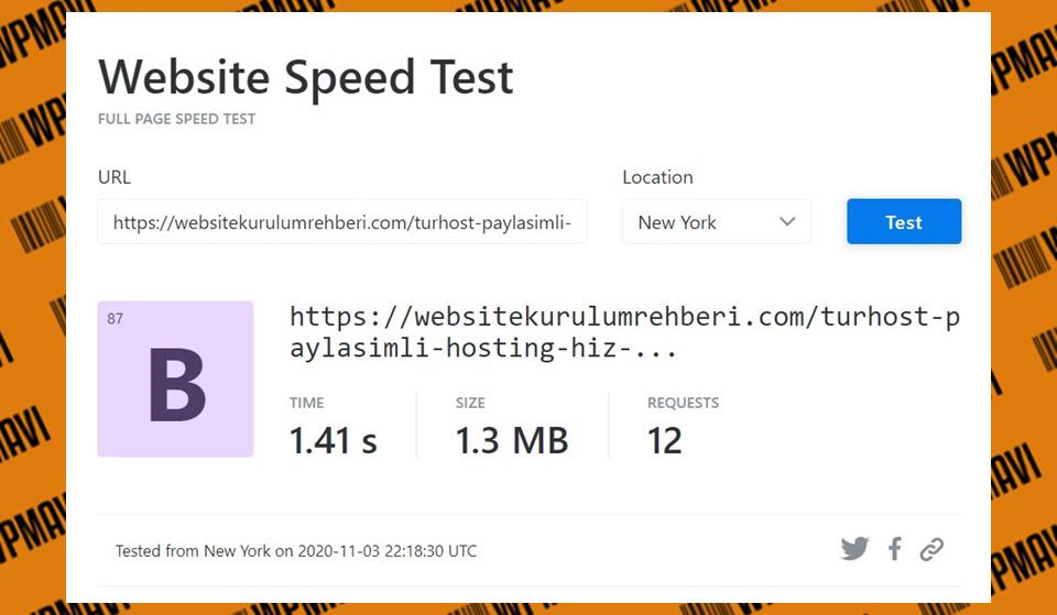 KeyCDN Sonuçları Test 5 Turhost - En iyi hosting firması