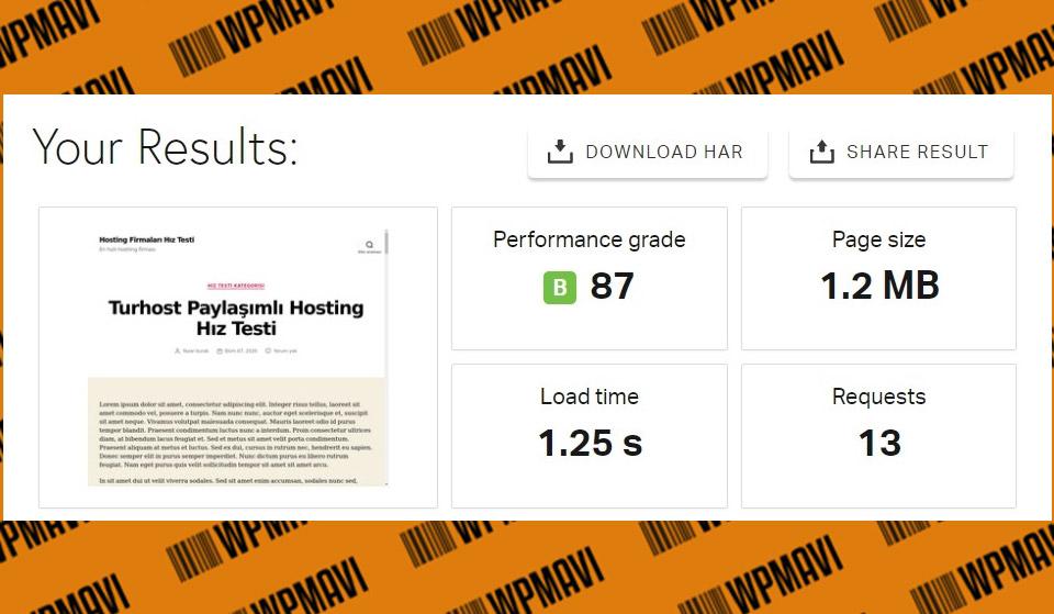 Pingdom Sonuçları Test 5 Turhost - kaliteli hosting türkiye